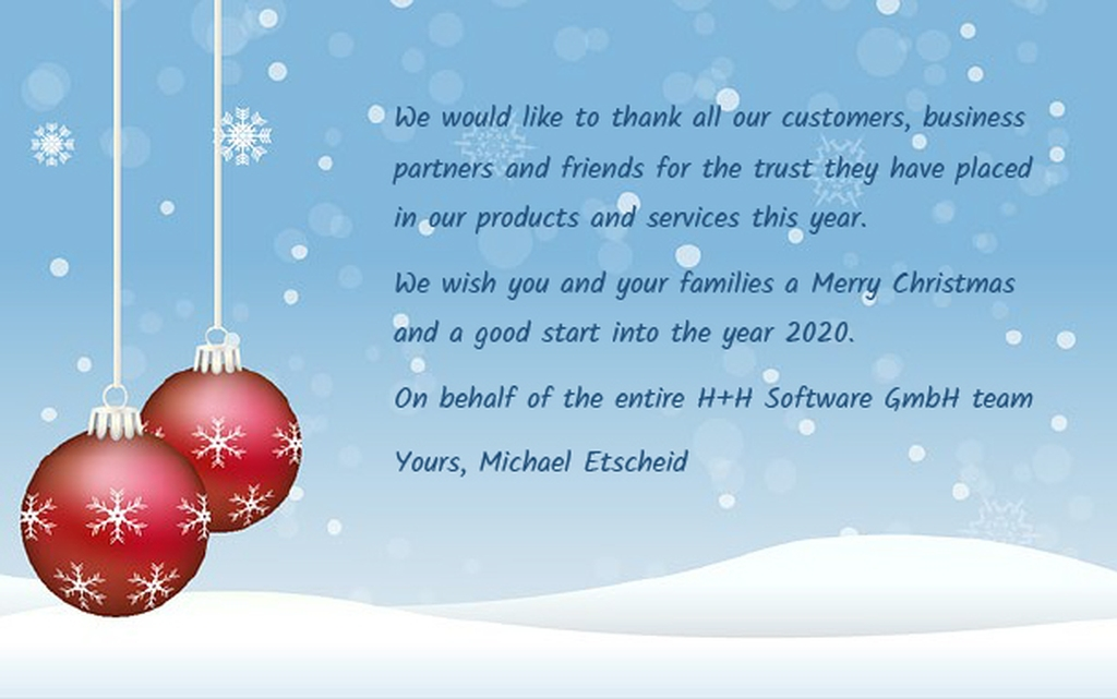 Merry Christmas From Business To Customers 2020 All news about H+H Software GmbH